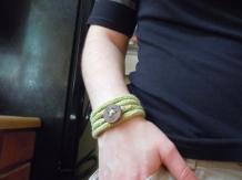 wearing knit bracelet