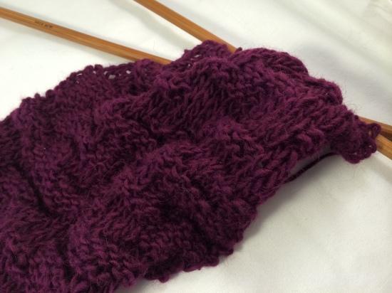 knit purple neck warmer