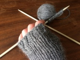 knit fingerless gloves in progress