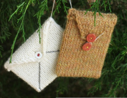knit envelope ornaments
