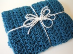 Cerulean Blue Crochet Travel Blanket