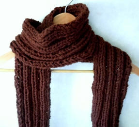 Chocolate Brown Ribbed Scarf