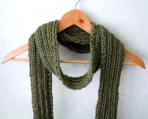 Olive Green Ribbed Scarf