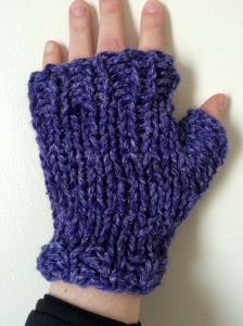 purple fingerless gloves