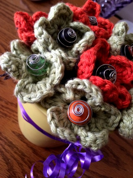 Crochet Flower Centerpiece